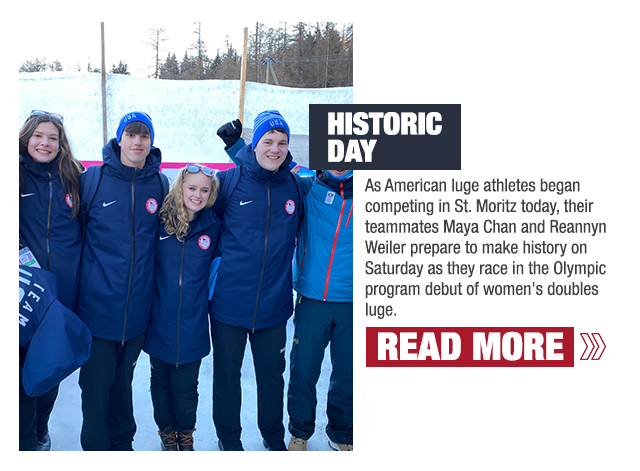 Maya Chan, Hunter Harris, Reannyn Weiler and Matt Greiner pose at the finish line for luge.