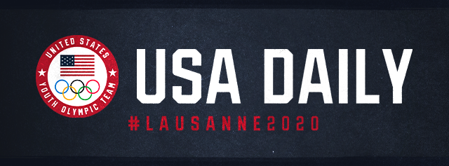 "USA Daily #Lausane 2020 header with logo of American Flag and Five Olympic Rings, surrounded by the words ""United States Youth Olympic Team"""