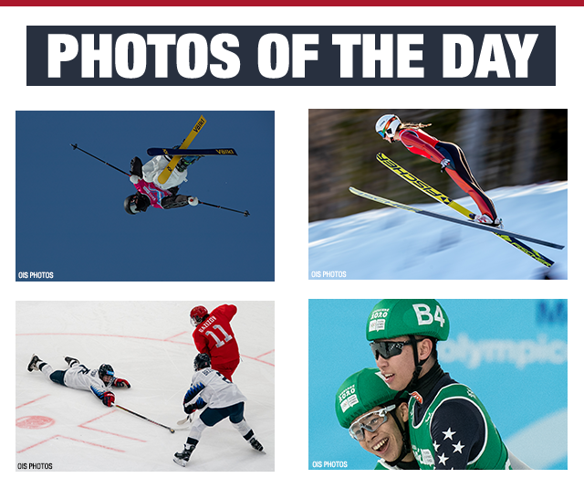 Four-photo compilation of Team USA athletes - freestyle skier crosses his skies and flips mid-air; a ski jumper launches herself into the air; two hockey players defend against a Russian opponent; short track speedskater Jonathan So is embraced by a smiling teammate after they win gold in the mixed-country event