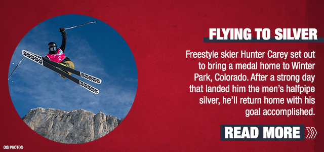 Flying To Silver - Freestyle skier Hunter Carey set out to bring a medal home to Winter Park, Colorado. After a strong day that landed him the men's halfpipe silver, he'll return home with his goal accomplished.