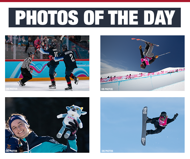 Photos of the day - Team USA men's hockey team celebrate a goal, a skier flips above the edge of the halfpipe, Kendall Kramer smiles during the mascot ceremony for her bronze medal, a snowboarder makes a grab in the air